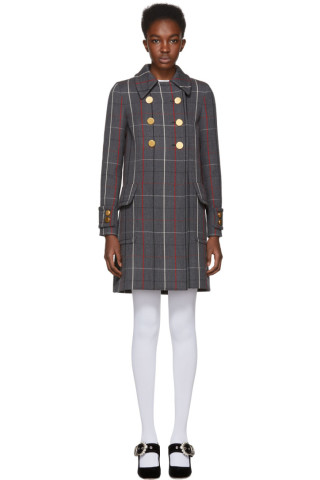 Miu Miu - Grey Wool Plaid Coat