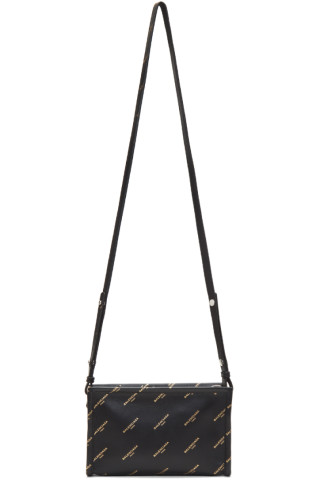 Balenciaga - Black All Over Logo Bazar Pochette Strap Bag
