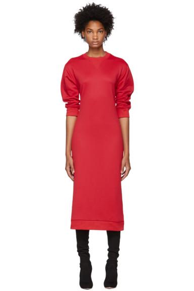Tibi - Red Open Back Sweatshirt Dress