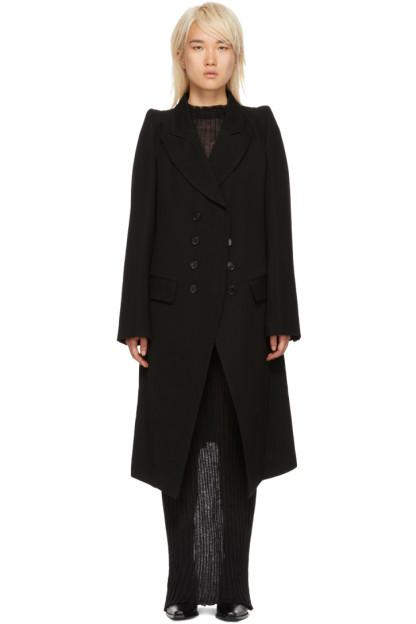 Ann Demeulemeester - Black Wool Button-Up Coat