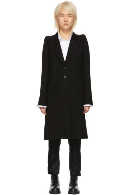 Ann Demeulemeester - Black Wool Lapel Button Coat