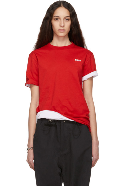 032c - Reversible Red & White Cosmic Workshop Logo T-Shirt
