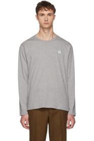 아크네 스튜디오 긴팔 티셔츠 그레이 Acne Studios Grey Long Sleeve Nash Face T-Shirt