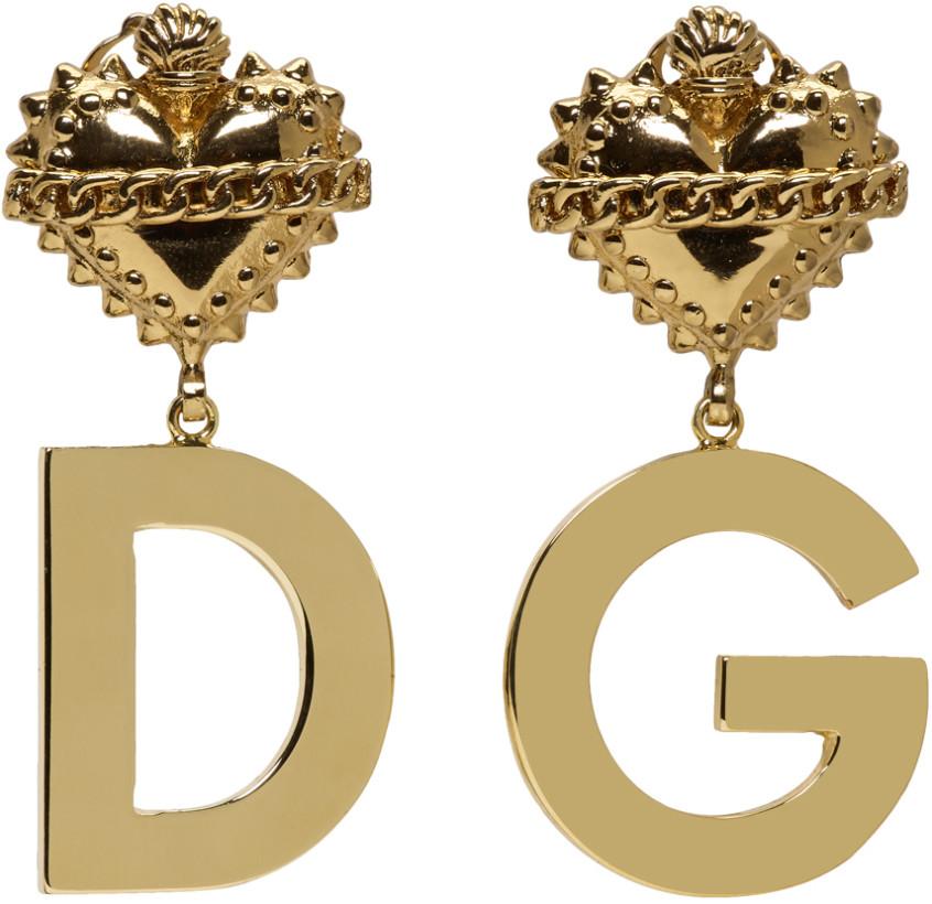 Dolce & Gabbana Gold DG Heart Clip-On Earrings