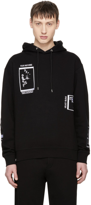 McQ Alexander McQueen Black Oversized 'Fear Nothing' Hoodie