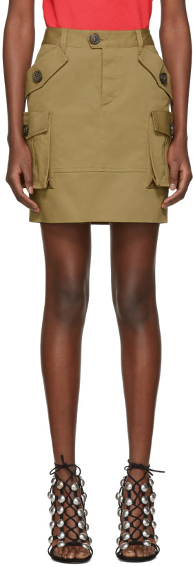 Dsquared2 Khaki Multi-Pocket Miniskirt