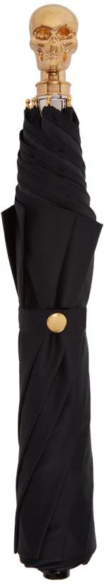 Alexander McQueen Black & Gold Collapsible Skull Umbrella