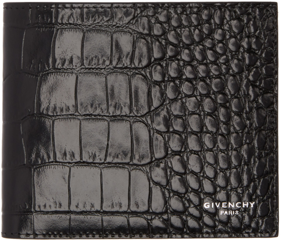Givenchy Black Croc Leather Bifold Wallet