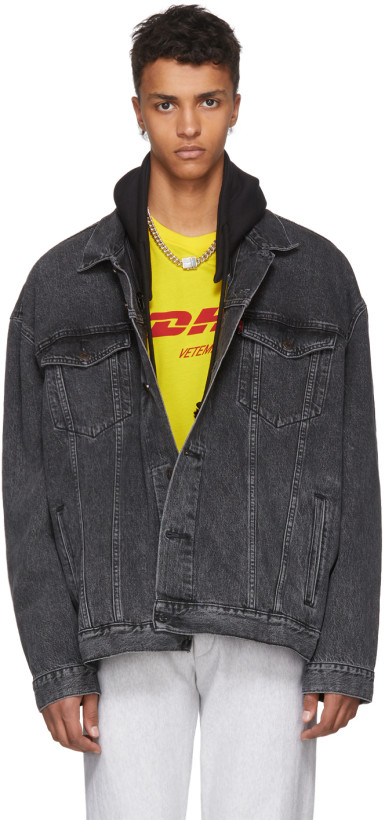 Vetements Black Levi's Edition Oversized Hooded Denim Jacket