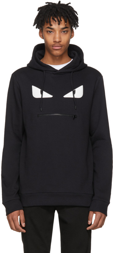 Fendi Black 'Bag Bugs' Zip Mouth Hoodie