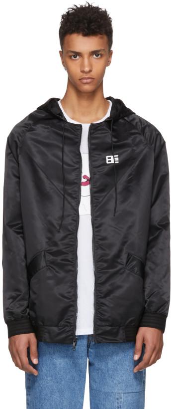 Baja East Black Nylon 'Thriving' Logo Track Jacket