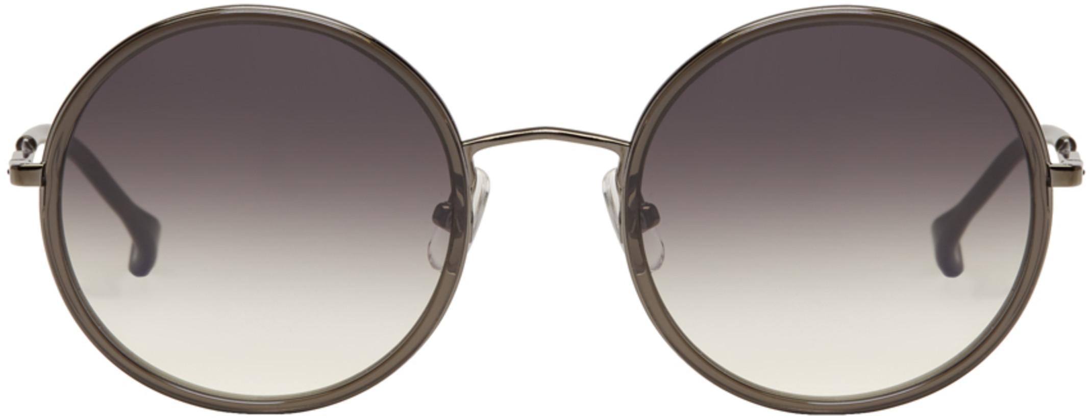 Issey Miyake Men Grey Round 4 Sunglasses