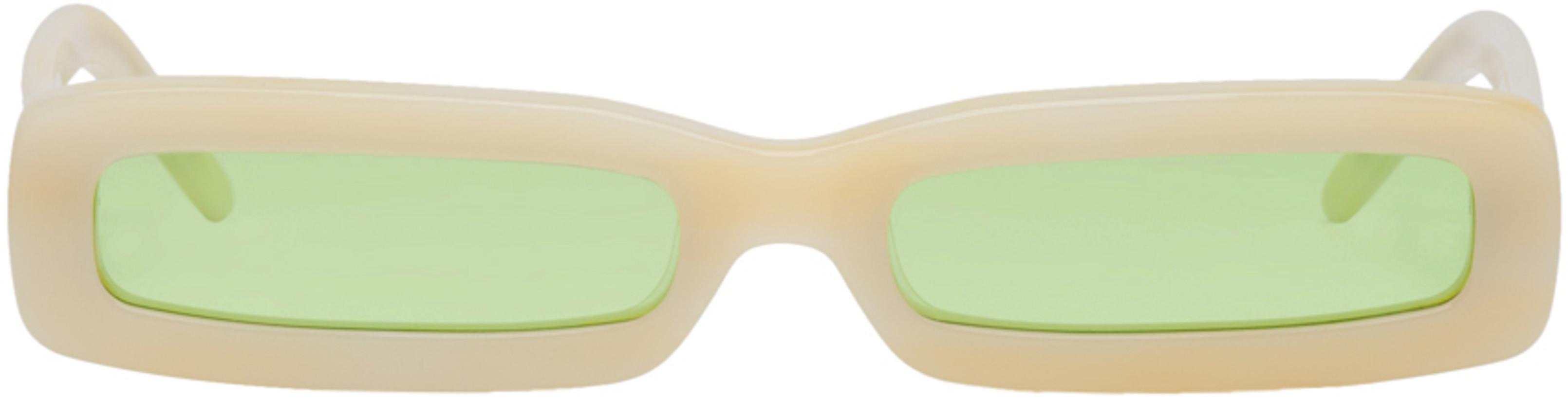 George Keburia Beige Long Rectangular Sunglasses