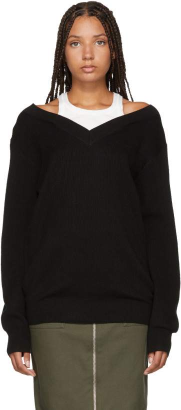 T by Alexander Wang Black Inner Tank Off-the-Shoulder Sweater