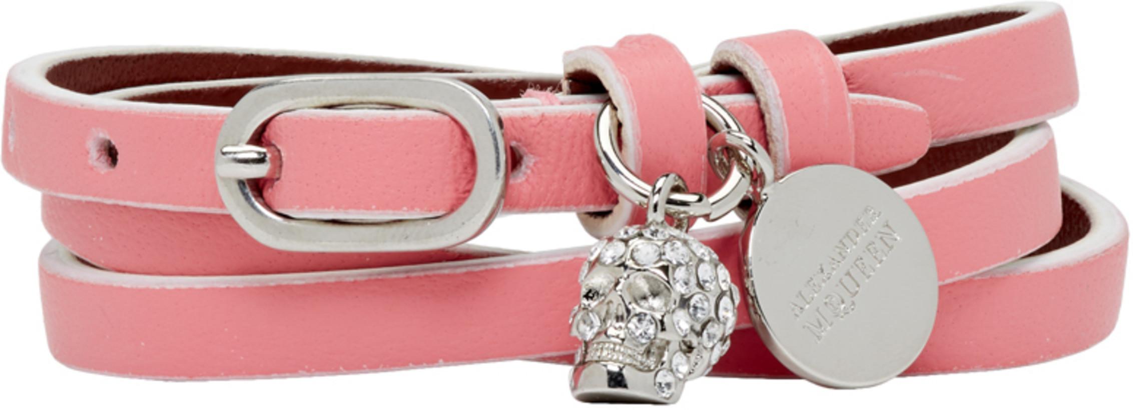 Alexander McQueen Pink Mini Skull Charm Multi Wrap Bracelet