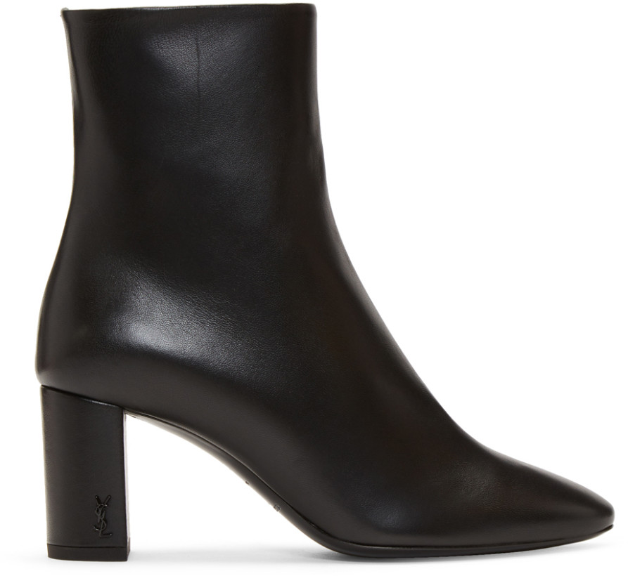 Saint Laurent Black Loulou Heeled Boots