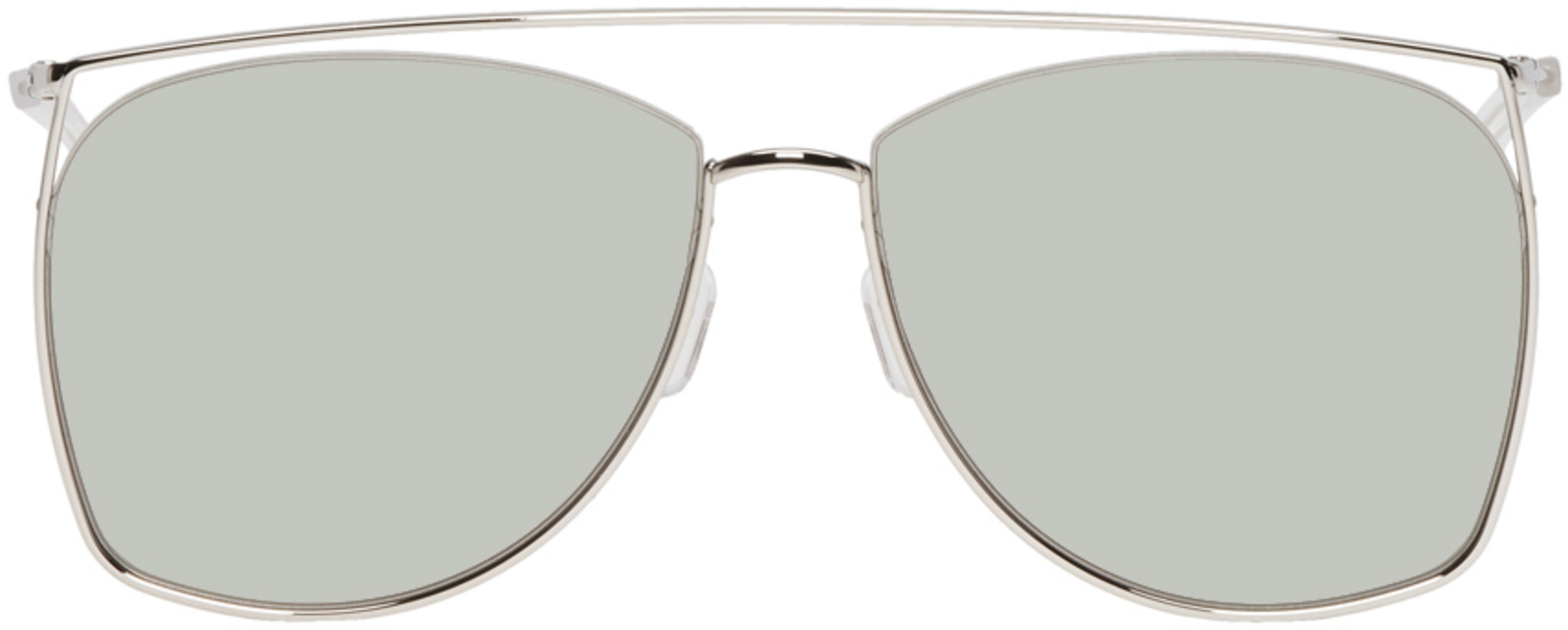Gentle Monster Silver & Khaki Tick Tock Sunglasses