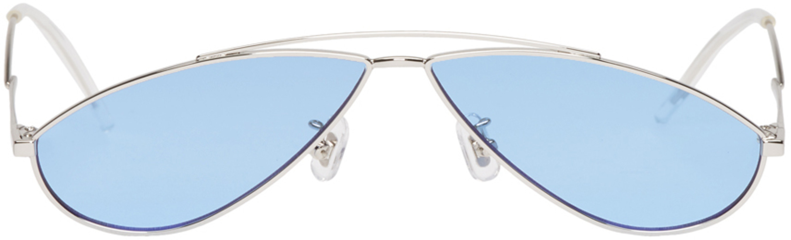 Gentle Monster Silver & Blue Kujo Sunglasses