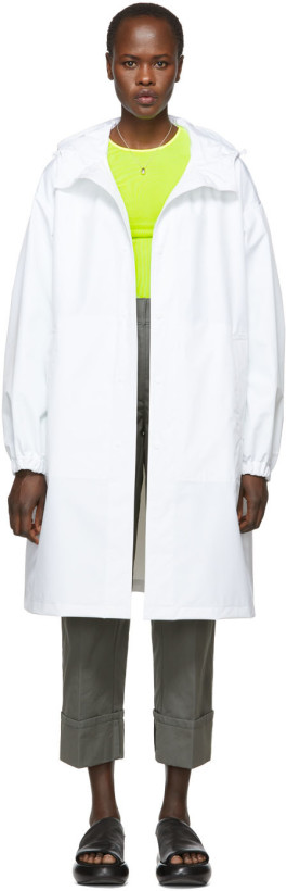 Helmut Lang White Recycled Hooded Rain Coat