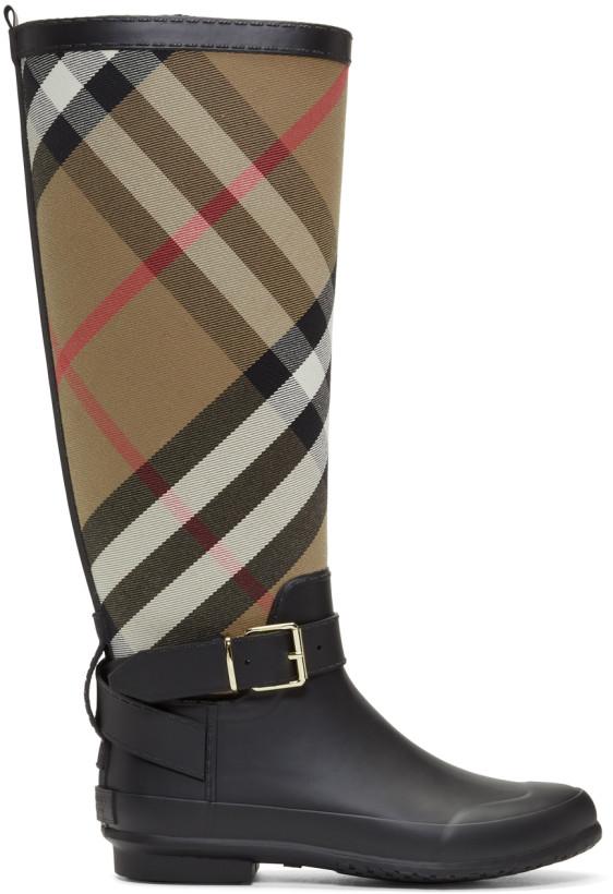 Burberry Black & Beige Simeon Rain Boots