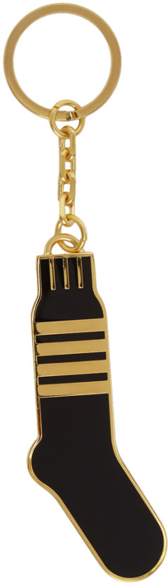 Thom Browne Gold & Black 4-Bar Stripe Sock Keychain