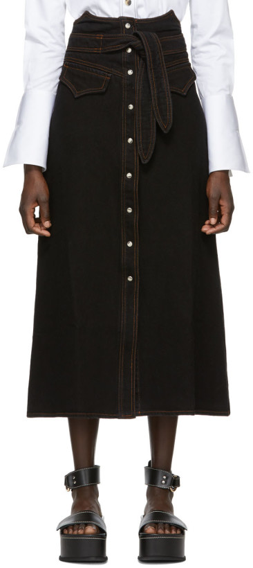 Nanushka Black Denim Alma Skirt