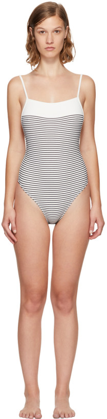 Solid & Striped White & Navy The Chelsea One Piece Swimsuit
