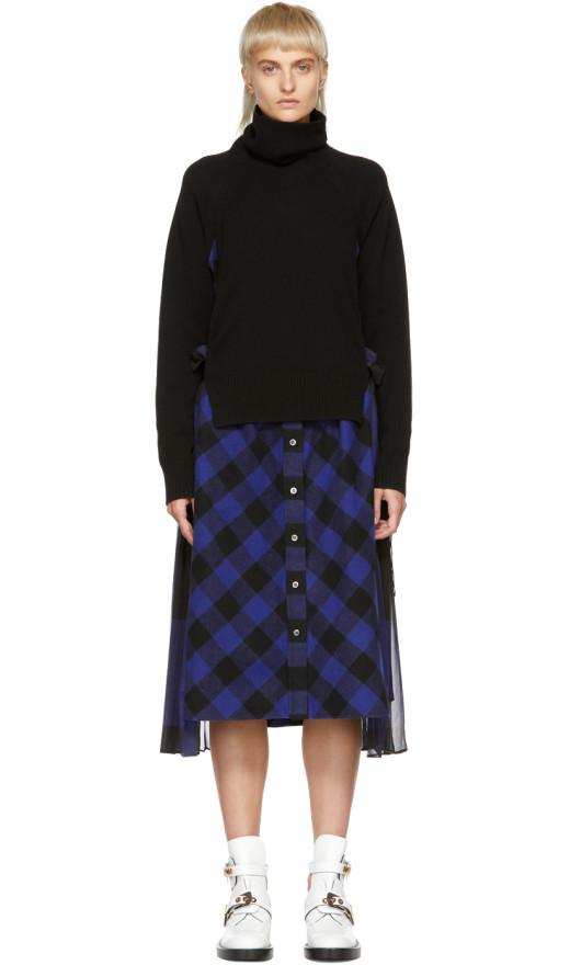Sacai - Black And Blue Buffalo Check Turtleneck Dress