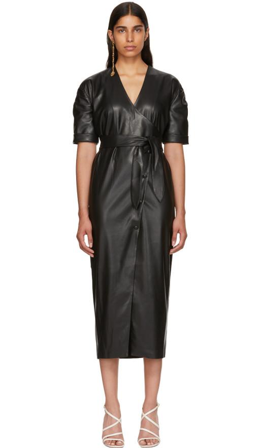 Nanushka - Black Vegan Leather Penelope Wrap Dress