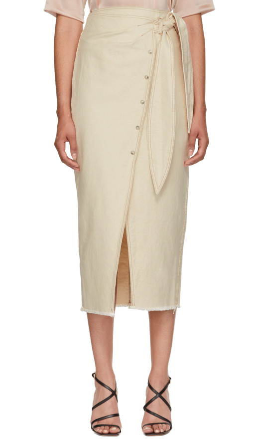 Nanushka - Beige Denim Opal Wrap Skirt