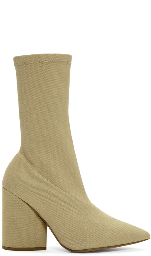 YEEZY - Beige Stretch Ankle Boots