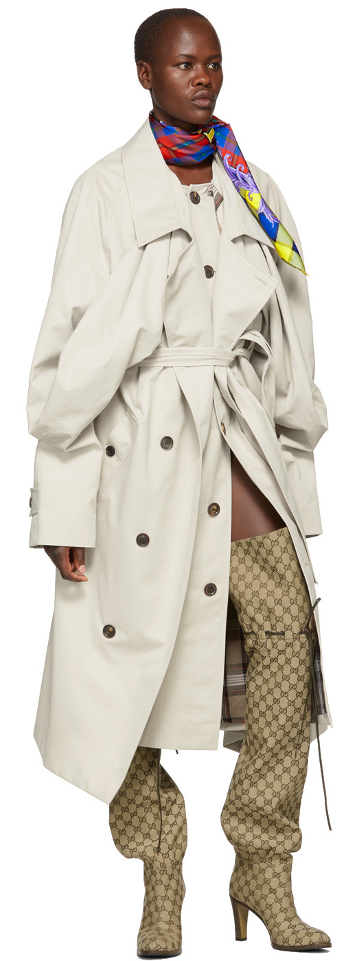 Y/Project - Ivory Double Front Trench Coat