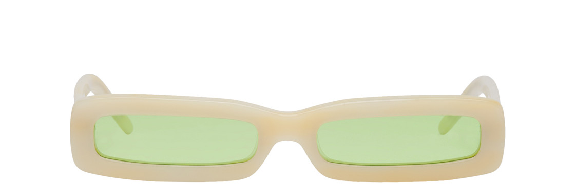 George Keburia - Beige Long Rectangular Sunglasses