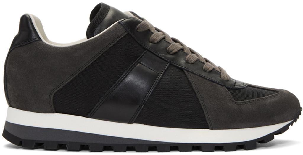 Maison Margiela Navy & Grey Retro Runner Sneakers qx6q4Gkt