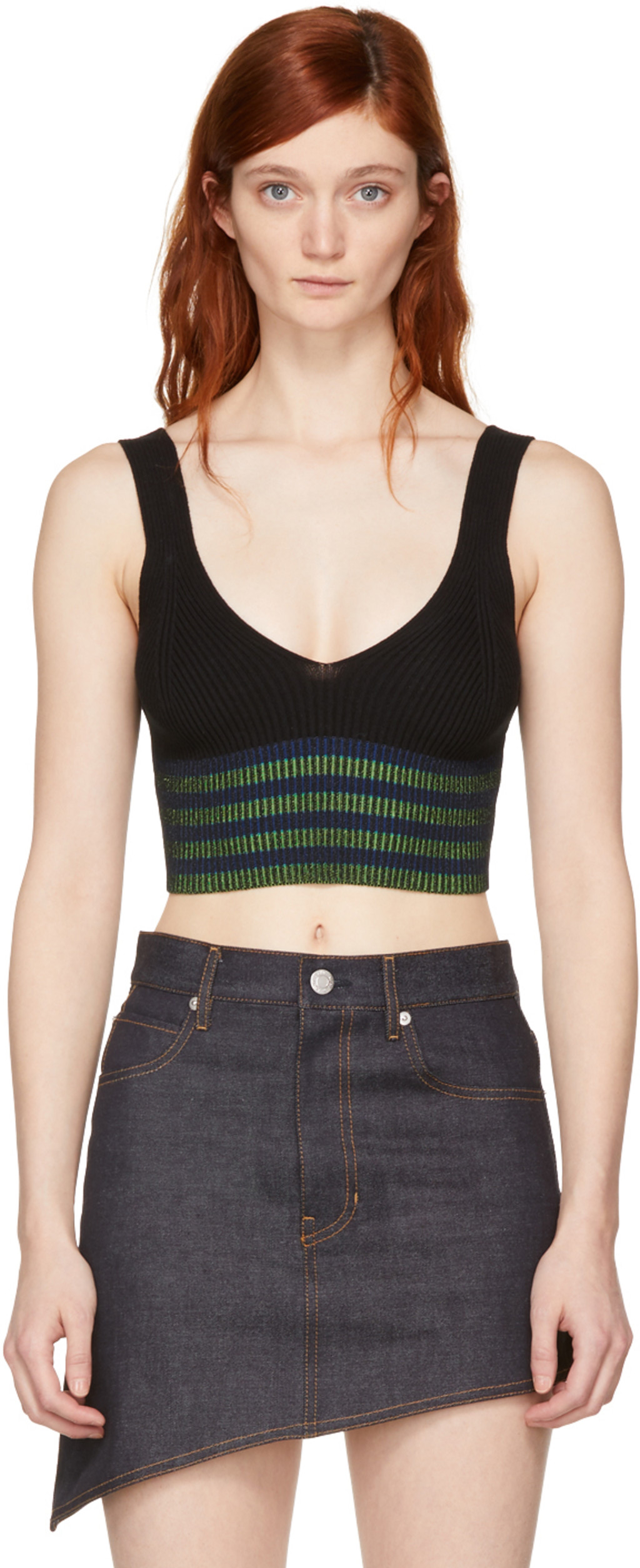 Black Cropped Logo Tank Top Opening Ceremony