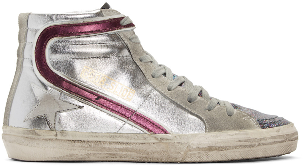 Dorateymur Silver & Red Glitter Slide High-Top Sneakers
