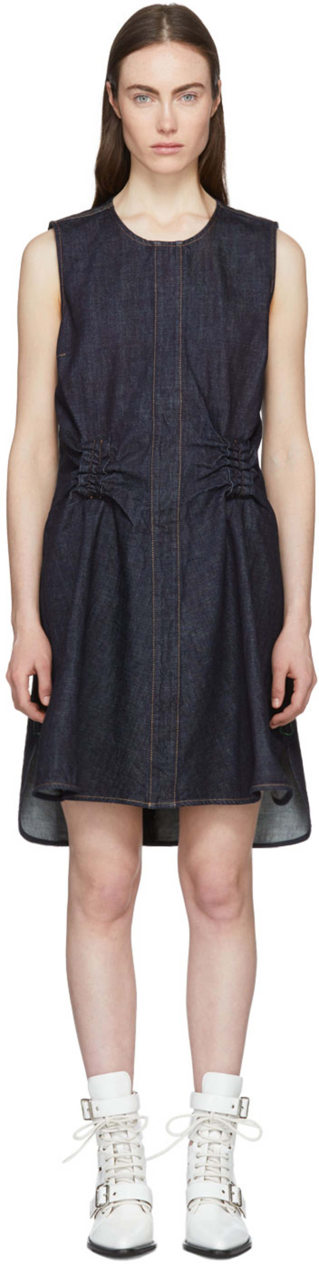 Indigo Denim Twist Back Dress Carven