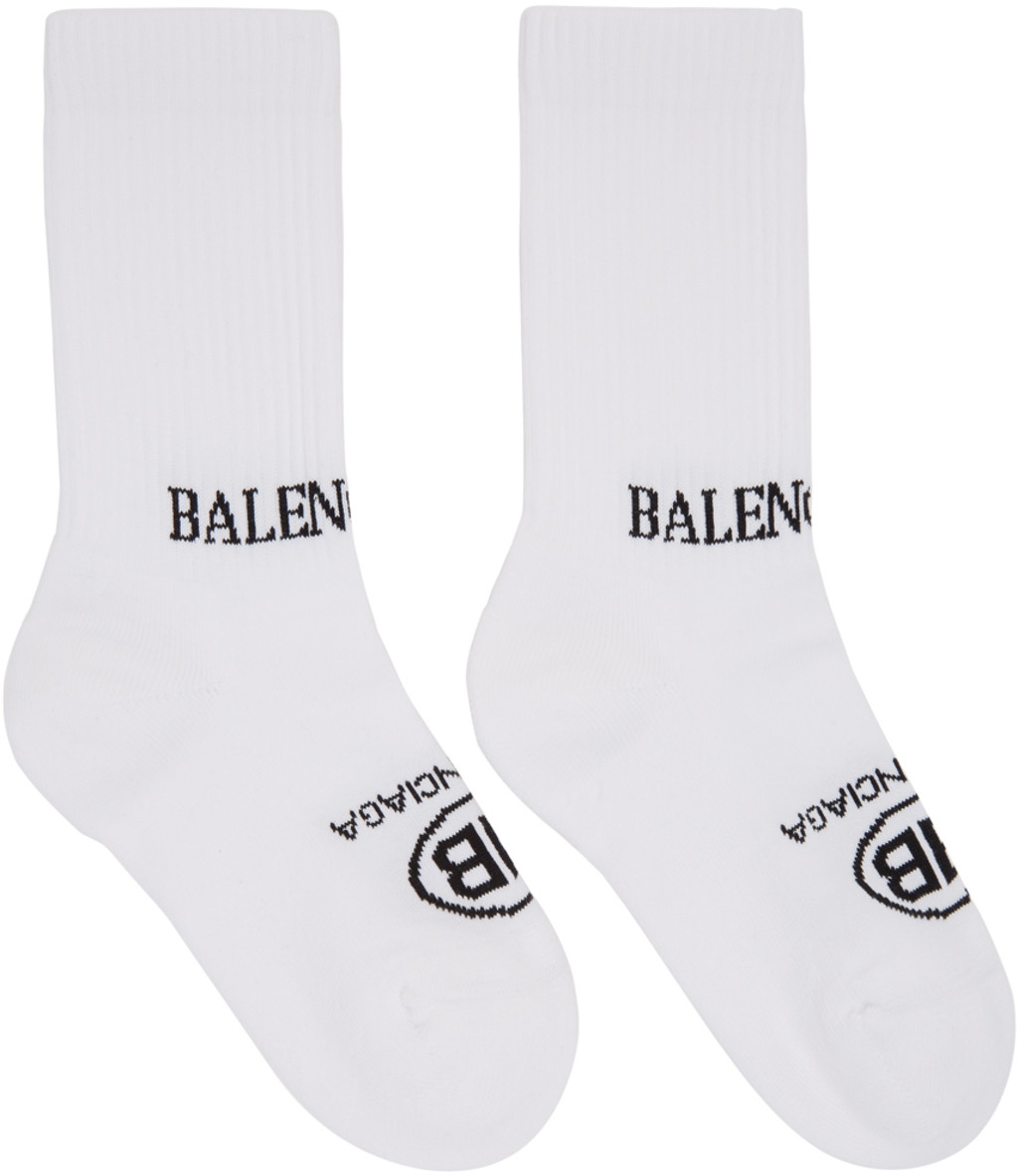 White Tight Logo Socks Balenciaga