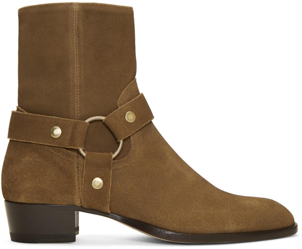 Saint Laurent Brown Suede Standard 16 Boots