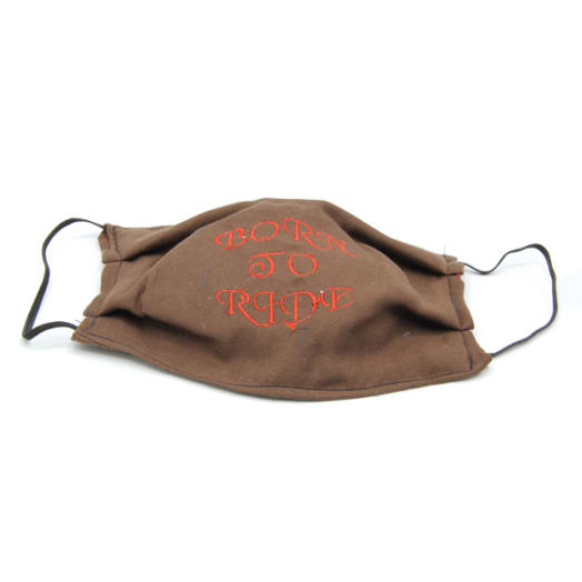 Cloth Mask - Born To Ride Text - Brown