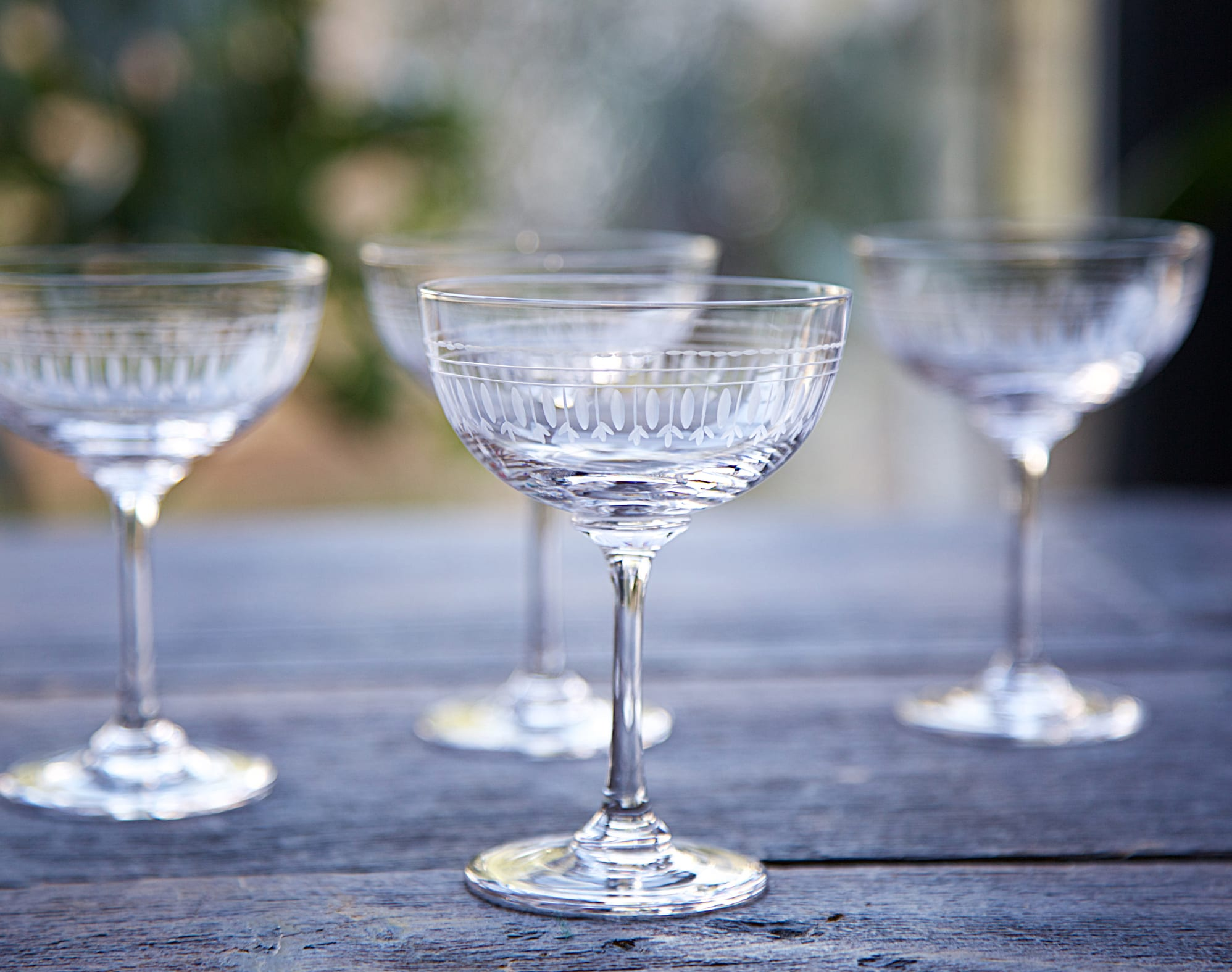 The Vintage List Set Of 6 Oval Vintage Champagne Saucer Glasses