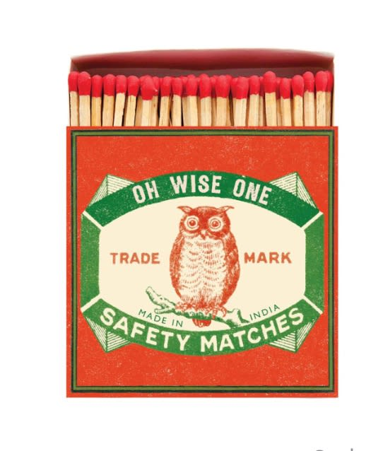 Archivist Oh Wise One Luxury Long Matches with an Owl on the front