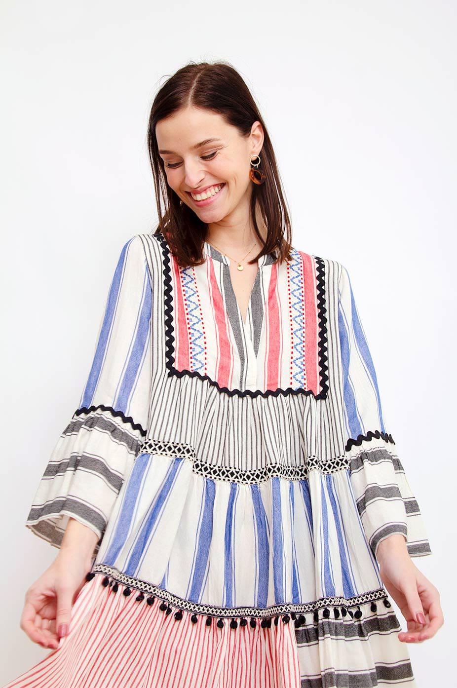 DEVOTION Mix Pom Poms Devotion Embroidery Dress