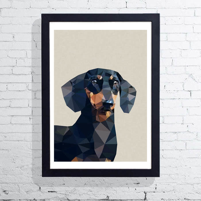 East End Prints  Daschund Dog  A3 Unframed Print