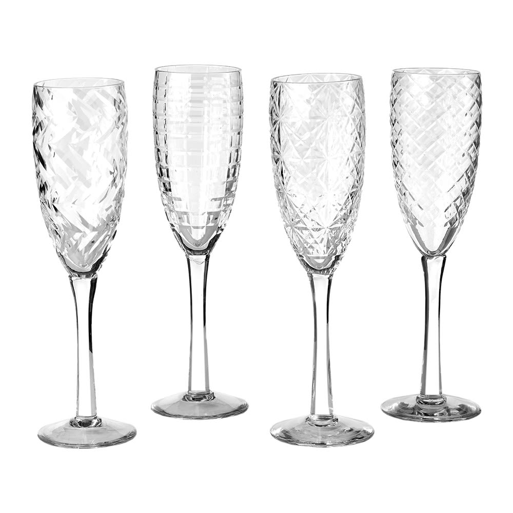 Pols Potten Set of Four Mixed Cuttings Clear Champagne Glasses