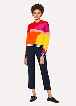 PS by Paul Smith Red Block Textured Knit Sweater