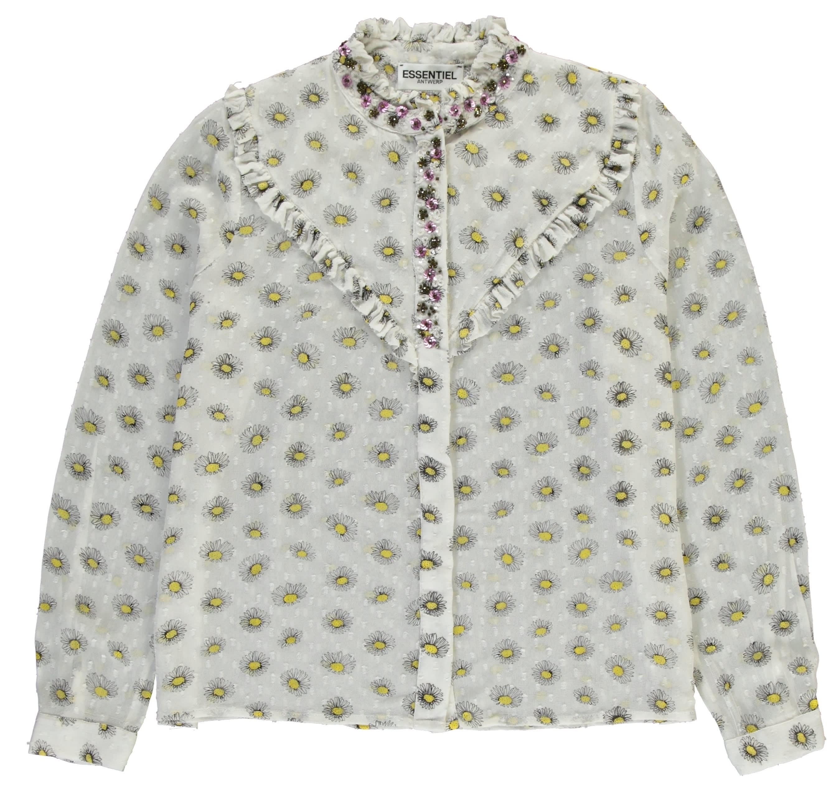 Essentiel Antwerp White Daisy Print Psychology Long Sleeved Shirt
