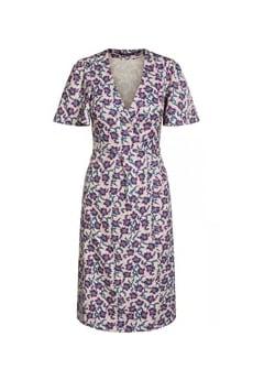Set Fashion Abstract Floral Motif Wrap Dress