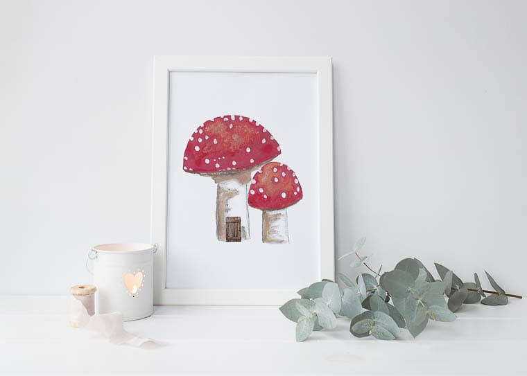 Little Paperie A4 Woodland Toadstool Print
