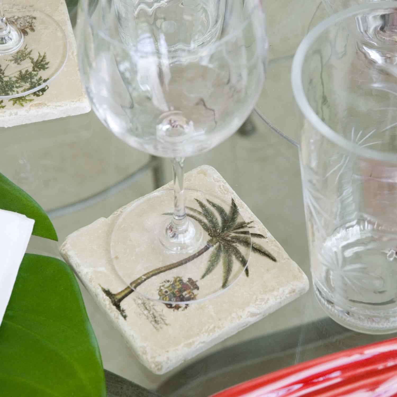 Jenny Blanc Wine Label Set Of Four Tumbled Italian Marble Coasters